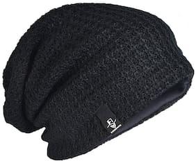 Slouchy Black woolen Long Beanie Cap for Winter