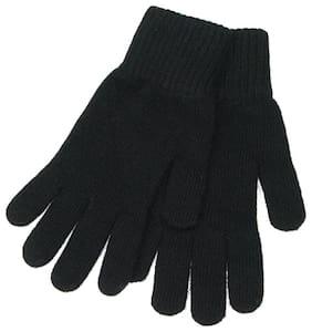 POSHING Women Wool & Fiber Gloves - Black