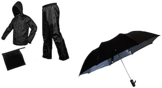 Jim-Dandy Men Black Rain Suit ( Regular , Pack of 2 )