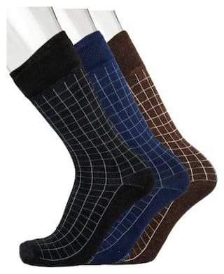 Blacksmith Black Cotton Calf length socks ( Pack of 3 )