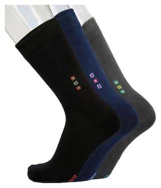 Blacksmith Black Cotton Ankle length socks ( Pack of 3 )