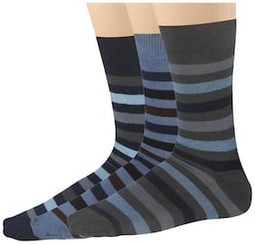 Blacksmith 100% Cotton Formal Socks For Men In Assorted Colors (Pack Of 3) - Stripes Socks