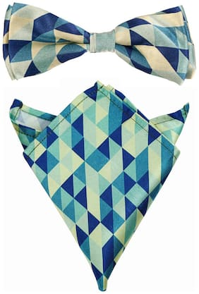 Blacksmith Abstract Blue Bow Tie & Pocket Square Set For Men