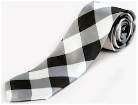 Blacksmith Black And White Checks Design Tie for Men