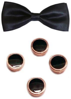 Blacksmith Black Bow Tie & Gold Tuxedo Button Set for Men