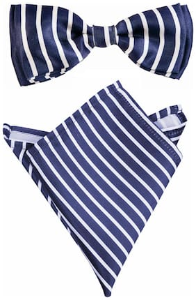 Blacksmith Corporate Navy Stripes Bow Tie & Pocket Square Set For Men