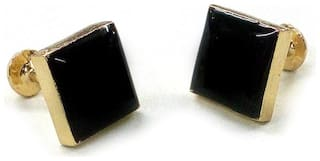 Blacksmith Gold Square Cufflink For Men - Black