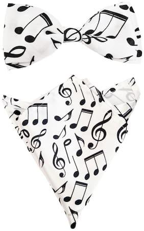 Blacksmith Musical Notes White Bow Tie & Pocket Square Set For Men