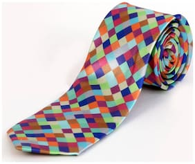 Blacksmith Multicolor Checks Design Tie for Men