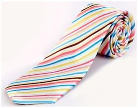 Blacksmith Pink Cream Stripes Design Tie for Men