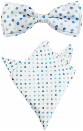 Blacksmith Polka Blue Dots Bow Tie & Pocket Square Set For Men