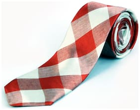 Blacksmith Red And Beige Checks Design Tie for Men