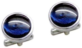 Blacksmith Silver Round Cufflink For Men - Blue