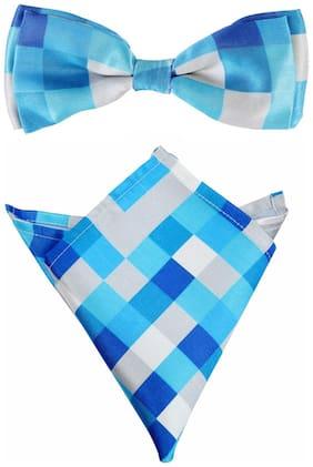 Blacksmith Water Blue Checks Bow Tie & Pocket Square Set For Men