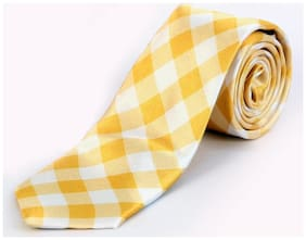 Blacksmith Yellow Gingham Checks Design Tie for Men