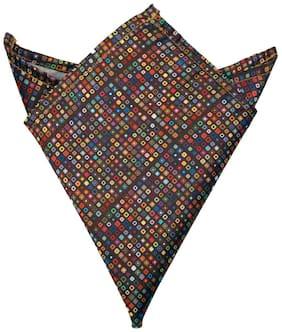 Blacksmithh Brown Tiny Circles Printed Pocket Square For Men