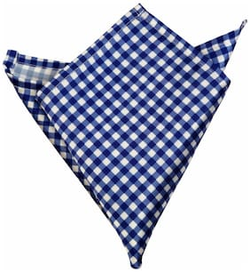 Blacksmithh Blue Gingham Checks Printed Pocket Square For Men
