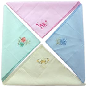 Blacksmithh 100% Embroidered Cotton Ladies Handkerchief In 4 Colors