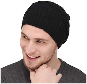 Blacky Beanie Cap for Men & Women with Inside Furr Bob Marley Style Skull Free Size Fitted to All