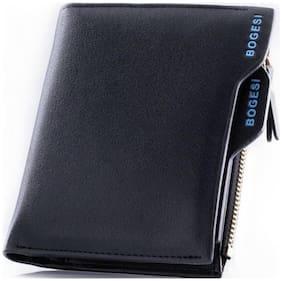 Bogesi Men Black Pu Bi-Fold & Zip Around Wallet ( Pack of 1 )