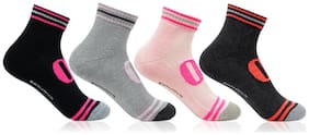 Bonjour Girl S Cushioned Ankle Length Sports Socks_Bro8203-Po4 Four Pair Pack
