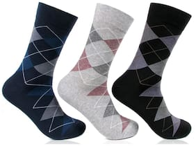 Bonjour Multicolor Formal Argyle Socks-Pack Of 3
