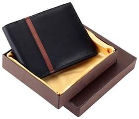 Men's Black and Tan Men's Genuine Leather Wallet