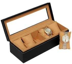 Borse BWC024 Trasparent Top Watch Case for 5 Watches