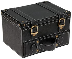 Borse Double Storey Black Leathertte Box - Gift for Christmas & New Year