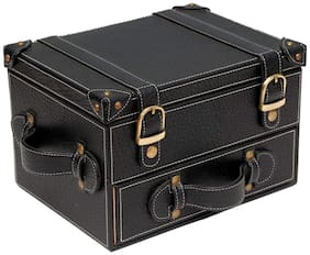 BORSE Double Storey 8 Slots Watch Box Cum Jewellery Portable Leathertte Box - Gift for Christmas & New Year