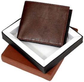 BORSE KCP108B BROWN AND BLACK LEATHERTTE WALLET