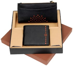 Borse Men & Women Leather Two-in-One Black Laser Cutting Men's & Women Wallet Set
