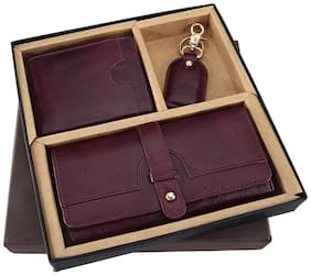 Borse Women's Cherry Goat Leather Purse and Men's Wallet & Key Chain - Gift for Couple