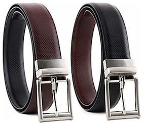 Boy's Casual & Formal PU Leather Reversible Belt Black/Brown COMBO OF 2