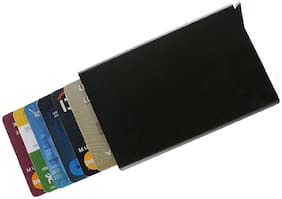Branded Black stell  Credit Debit card case. Unisex RFID scanner protection credit card holder