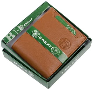 Brexit Men Tan Leather Bi-Fold Wallet ( Pack of 1 )