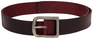 Brown and maroon colour combination men leather belt