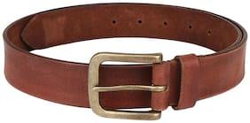Brown colour acid washed design men leather belt