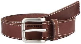 Brown Matte Stitched Design Leather Belt By Aditi Wasan
