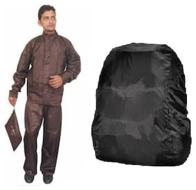 BrownRainCoatWithLowerandCap+BlackBackpackCover