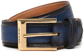 BRUNE ROYAL BLUE WITH GOLDEN SQUARE BUCKLE HAND PAINTED LEATHER FORMAL BELT FOR MEN