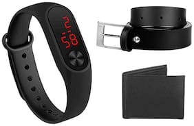 Buy Imperior Black Belt And Wallet And Get Silicone Led Watch Free