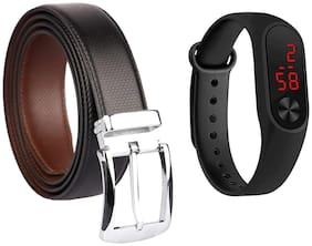 IMPERIOR Men Black Leather Belt (Size: Free size , Pack of 2 )