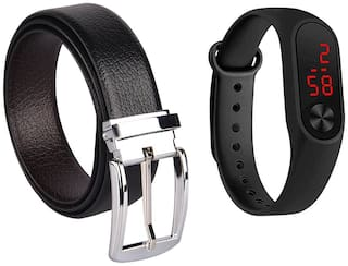 Buy Imperior Elegant Formal Leather Reversible Belt And Get Silicone Led Band Free