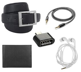 Buy Imperior Black Texture Belt And Get Free Aux Cable Black Belt;Without Mic Handfree And OTG
