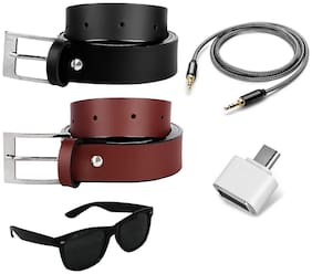 Buy Imperior Stylish 2 Belts;Wayfarer Sunglass And Get Aux Cable And OTG Absolutely Free