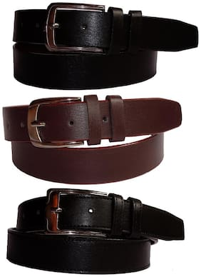 Calibro Black and Brown Faux Leather Belt Combo {Pack of 3 ; (2 Black & 1 Brown)}