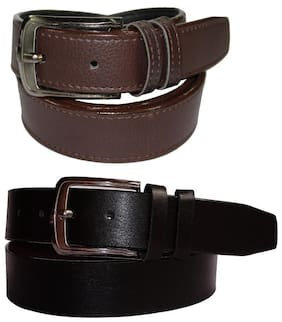 Calibro Black and Brown Faux Leather Belt Combo (Pack of 2)