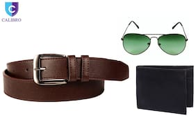 Calibro Brown Belt With Stylish Aviator And Wallet Combo