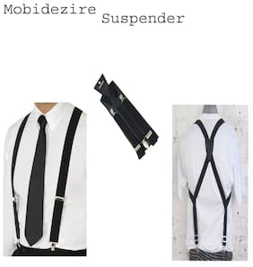 Casual  type   Y- back BLACK Suspender MOBIDEZIRE For UNISEX Pack of 1